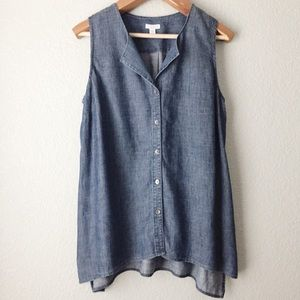 J. Jill Chambray Tencel Button Up Sleeveless Top